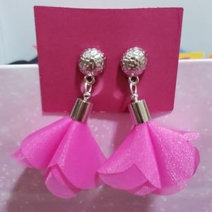 Silver stud earrings with hot pink tassels. Nwt